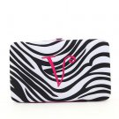 "Ladies initial ""V"" zebra print thick flat wallet MNZ7112(BKFS-V) BS100"