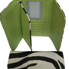 Zebra print tri-fold checkbook wallet 0566-517 lime green
