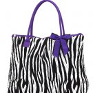 Belvah zebra print large black/white tote bag ZBQ2705(BKPP) handbag purse BS720