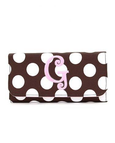 New ladies initial G polka dot checkbook wallet tri-fold MNP2712(BRPK-G)