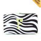 """Ladies initial """"F"""" zebra print thick flat wallet MNZ57112(BKLM-F) BS100"""