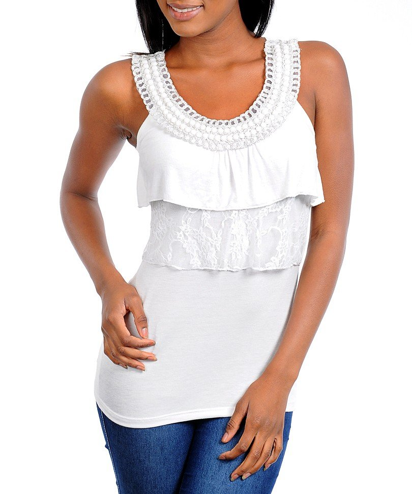 Ladies size large white layered blouse with beaded neckline
