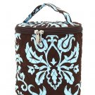 Belvah quilted damask print brown & blue lunch bag box DAQLT13(BRTQ) BS399