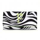 New ladies initial F zebra print checkbook wallet tri-fold MNZ2712(BKLM-F) monogram