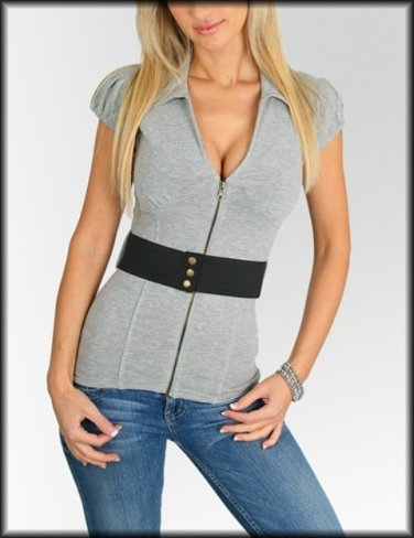 Ladies small gray zip up blouse with stretch belt by Derek Heart