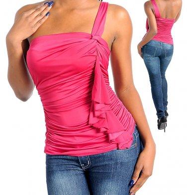 Ladies small mauve one shoulder blouse