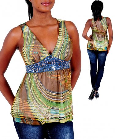 Ladies small size turquoise sleeveless summer top blouse with rhinestones