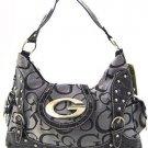 Gray and black G style studded handbag rhinestone purse LA1399