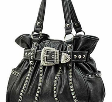 New ladies solid pattern buckle accent handbag purse WSL013(BLACK)