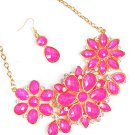 Chunky silver toned biib necklace & earrings with pink faceted stones KPN3538FSG