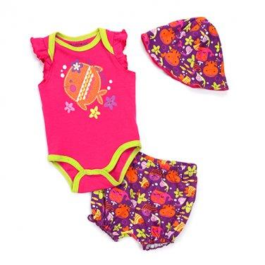 Baby Girl (0-9M) Buster Brown 3pc. set shorts, bodysuit & hat
