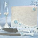 Winter Wonderland wedding guest book, pen set, toasting glasses and cake knife set bride groom