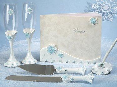 Winter Wonderland wedding guest book, pen set, toasting glasses and cake knife set bride groom