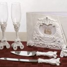Cinderella coach wedding guest book, pen set, toasting glasses and cake knife server set