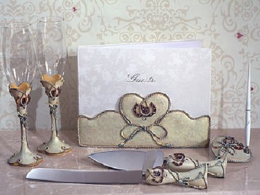 Western theme 7 pc. wedding set guest book, pen set, toasting glasses and cake knife server set