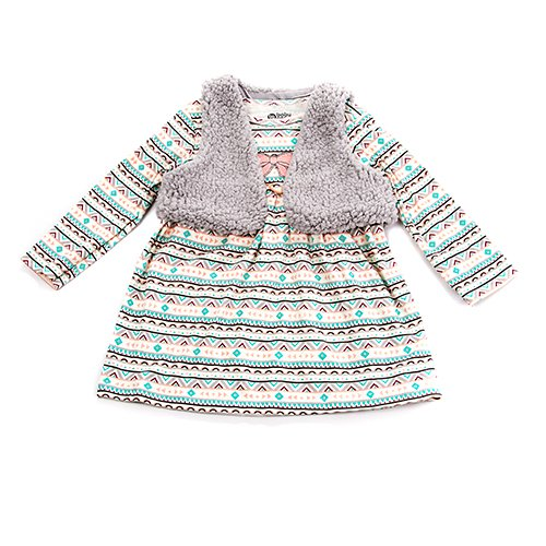 New baby girls 24M months gray aztec dress with faux fur vest B799