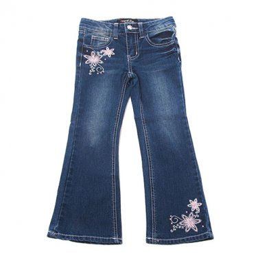 Girls size 4T embellished floral flare leg boot cut jeans B639