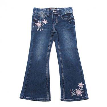 Girls size 6 embellished floral flare leg jeans B639