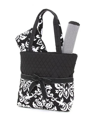 Quilted black & white damask 3pc diaper bag baby changing pad DAQ1103L(BK)