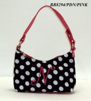 Polka dot initial N junior girl's handbag monnogramable purse