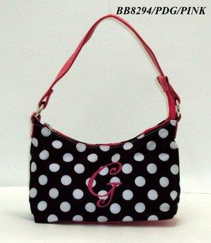 Polka Dot initial G junior girl's handbag monnogramable purse