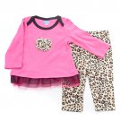New baby girls 12M months pink leopard leggings set toddlers pants shirt
