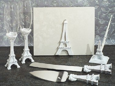 Paris Eiffel tower 7pc wedding set guest book, pen set, toasting glasses and cake knife and server