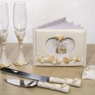 Beach theme 7pc wedding set guest book, pen set, toasting glasses, cake knife and server