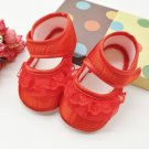 New  baby girl's 6 to 9 months red crib shoes w/ lace infant size