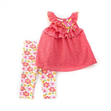 New girls size 2T leggings set eyelet ruffled top & pants B559 baby outfit B559