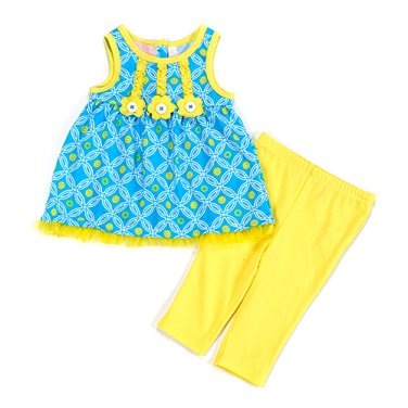 New baby girls size 2T sleeveless summer top with capris daisy applique B594