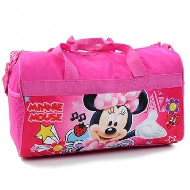 "Girls 18"" pink Minnie Mouse canvas duffle bag Disney PK750"