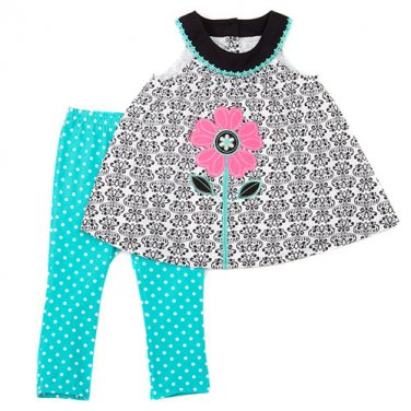 Girls size 6 leggings set with sleeveless floral top