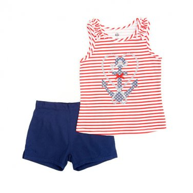 Girls size 4T blue shorts and red striped top with anchor print