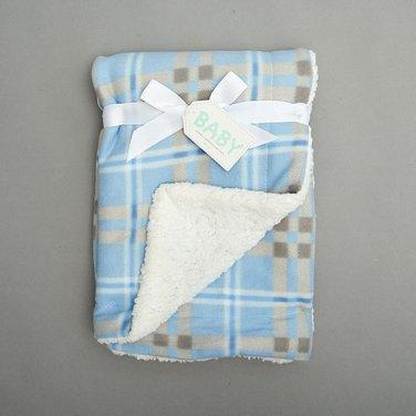Baby boys large plaid sherpa blanket crib bedding