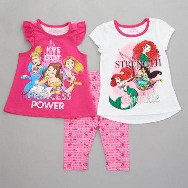 Girls size 2T 3 piece Disney Princess leggings set 2 tops plus pants B600
