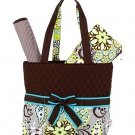 NEW BELVAH QUILTED FLORAL PATTERN 3PC DIAPER BAG QBF1103L(BR) BABY GIFT