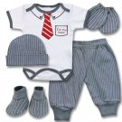 Baby boys 0-3M 5pc. boxed gift set- pants, bodysuit, hat, mittens & booties