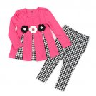 Baby girls size 12M months 2 piece pink and black leggings and top set