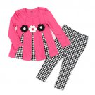 Baby girls size 24M months 2 piece pink and black leggings and top set