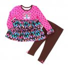 Girls size 2T leggings and ruffled butterfly print top by Nannette