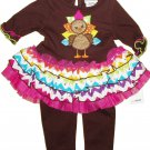 Baby girls size 12M Thanksgiving turkey leggings set Good Lad brand applique