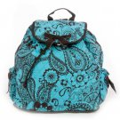 Beautiful quilted brown and turquoise paisley print backpack QPF2707_TQBR) D495