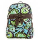 Beautiful quilted brown and lime paisley and floral print backpack book bag D495