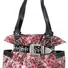 New ladies floral print laminated handbag with rhinestone buckle L