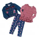 Girls Size 6 Jacket Set 3pc. Embroidered Denim Jacket with & Leggings and Top