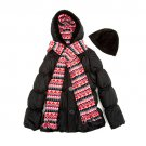 Girls Size 5-6 Black Hooded Puffer Coat with Scarf and Hat B849 by Pink Platimun