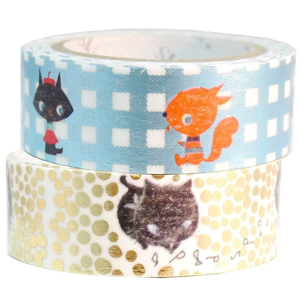 Masking Tape By Shinzi Katoh Collection Set of 2 Black Cat Washi Tape