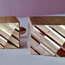 Swank Chunky Cuff Links, 3 Dimension Optical Illusion Ribbed Gold Tone Cufflinks