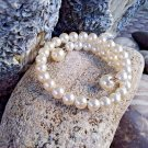 Faux Pearl Memory Wire Bangle Vintage Faux Pearl Wire Wrap Bracelet